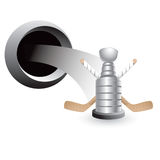 Popping hole with hockey sticks and trophy Stock Image