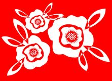 Poppy. Three white silhouettes of poppies on a red background Royalty Free Stock Photos