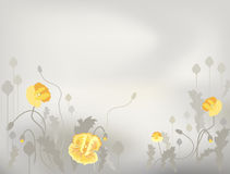Poppy 6. Decorative background with yellow poppy patterns Royalty Free Stock Photos