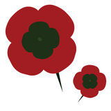 Poppy. Illustration of a plastic poppy flower with a pin, traditionally used on Remembrance Day vector illustration