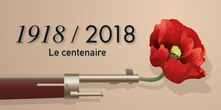 A poppy in the barrel of a rifle to symbolize the centenary of the armistice. A poppy slipped into the barrel of a rifle symbolizing peace for the centenary of stock illustration