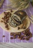 Poppy bun with hazelnuts Stock Photography