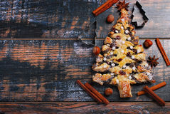 Poppy cake in christmas tree shape Stock Photos