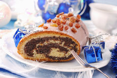 Poppy cake with nuts for christmas Royalty Free Stock Images