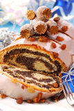 Poppy cake with nuts for christmas Royalty Free Stock Photos