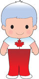Poppy Canadian Boy. A smiling, well dressed young lad wears clothing representative of Canada stock illustration