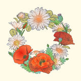 Poppy and chamomile wreath Royalty Free Stock Photography