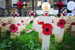 Poppy Cross, Remembrance day display Royalty Free Stock Photography