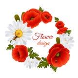 Poppy Daisy Postcard Template Royalty Free Stock Photo