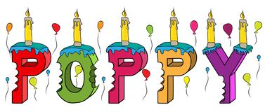 Poppy female first name bitten colorful 3d lettering birthday cake with candles and balloons.  Stock Photos