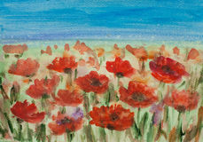Poppy field. Acrylic painting of red poppy field with blue sky, landscape painting, impressionist style Stock Photo