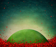 Poppy field. Green meadow in middle of red poppies. Computer graphics Royalty Free Stock Image