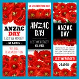 Poppy flower banner for Anzac Remembrance Day Royalty Free Stock Image