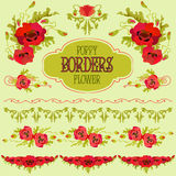Poppy flower border elements set. Bouquets and garlands Royalty Free Stock Photography