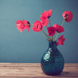 Poppy flower bouquet with retro filter effect Stock Photos