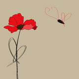 Poppy flower with butterfly vector illustration