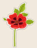 Poppy flower card. Red poppy flower sticky label. Vector file saved as EPS 8, all elements layered, grouped, no gradients, no effects, easy print - now waiting Stock Images