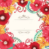 Poppy flower card design . Eps 10. Royalty Free Stock Photos
