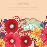 Poppy flower card design . Eps 10. Royalty Free Stock Photography