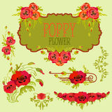 Poppy flower design elements set. Bouquets and garlands Stock Photos