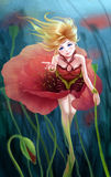 Poppy flower girl. Fantasy illustration art Stock Images