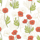 Poppy flower graphic color seamless pattern sketch illustration Royalty Free Stock Photo