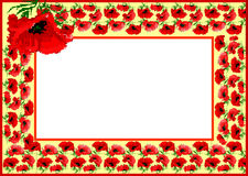 Poppy flower pattern as frame Stock Images