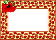 Poppy flower pattern as frame Stock Images