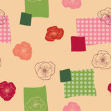 Poppy flower red green graphic art color seamless pattern illustration Royalty Free Stock Image