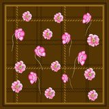 POPPY FLOWER SCARF BROWN BACKGROUN. This design is good for fashion wrap, scarves, fabric, neck wear, etc Royalty Free Stock Image