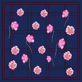 Plaid POPPY FLOWER pattern NAVY BACKGROUND. This design is good for fashion wrap, scarves, fabric, neck wear, etc Stock Images