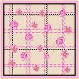 PLAID POPPY FLOWER PATTERN. This design is good for fashion wrap, scarves, fabric, neck wear, etc Stock Photos