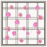 PLAID POPPY FLOWER PATTERN WHITE BACKGROUND. This design is good for fashion wrap, scarves, fabric, neck wear, etc Stock Photography