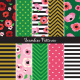 Poppy Flower Seamless Pattern Set. Vector illustration of poppy flower seamless pattern set Royalty Free Stock Photos