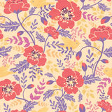 Poppy flowers and birds seamless pattern Royalty Free Stock Photo