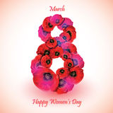 Poppy flowers on the greeting card for Womens day. Stock Image