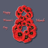 Poppy flowers on the greeting card for Womens day. Royalty Free Stock Photos