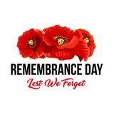 Remembrance day Lest We Forget vector poppy icons. Poppy flowers and Lest We Forget icon for Remembrance Day of Anzac or Commonwealth war commemoration. Vector royalty free illustration