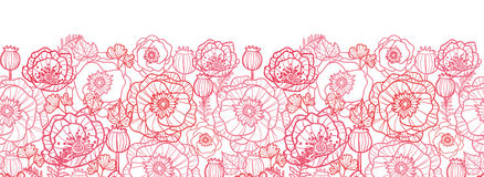 Poppy flowers line art horizontal seamless pattern Royalty Free Stock Photo