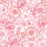 Poppy flowers line art seamless pattern background Stock Image