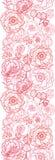 Poppy flowers line art vertical seamless pattern Royalty Free Stock Image