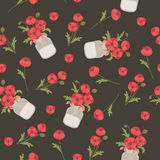 Poppy flowers in mason jars. Seamless vector pattern Royalty Free Stock Photo