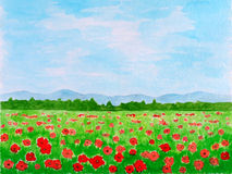 Poppy Flowers Meadow Watercolor Hand Drawn. Poppy Flowers Meadow or Summer Landscape Watercolor Hand Drawn and Painted Stock Photography