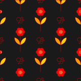 Poppy flowers seamless pattern over grey Royalty Free Stock Images