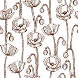 Poppy flowers vector seamless pattern