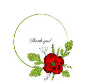 Poppy flowers wreath isolated on a white background, Round frame hand drawn doodle vector sketch herbal vintage graphic Royalty Free Stock Image