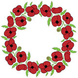 Poppy  flowers wreath Royalty Free Stock Images