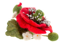 Poppy hair clip made of wool. A poppy hair clip made of wool w stock image