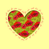 Poppy heart design. Floral love card. Royalty Free Stock Images