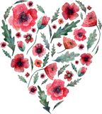 Poppy heart. Red flowers and green leaves on heart shape isolated on white background. Watercolor illustration royalty free illustration